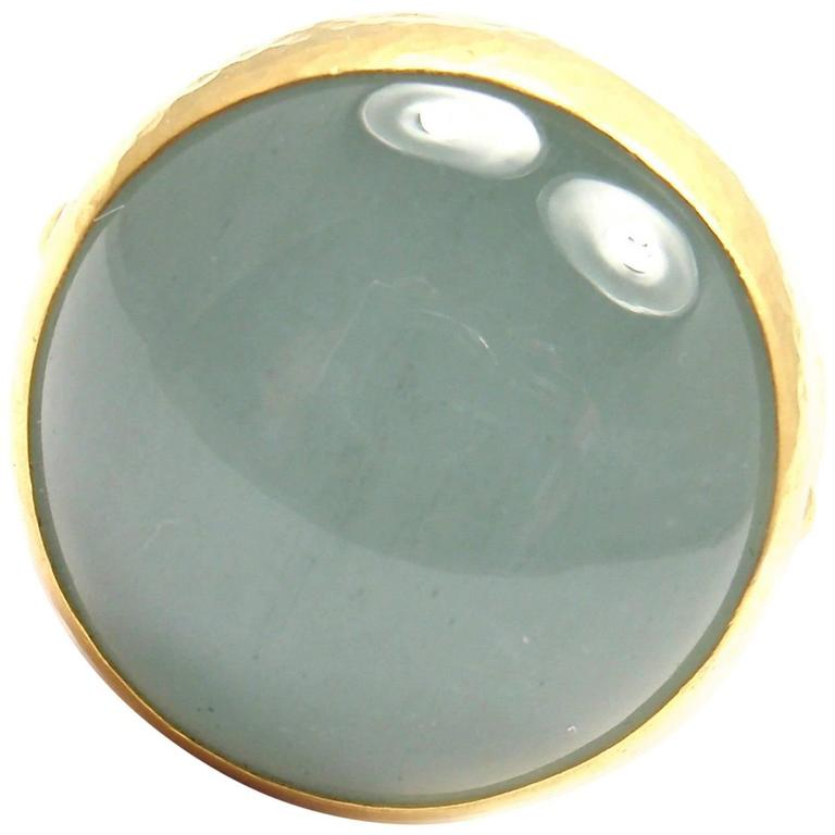 Gurhan Large Aquamarine Yellow Gold Ring