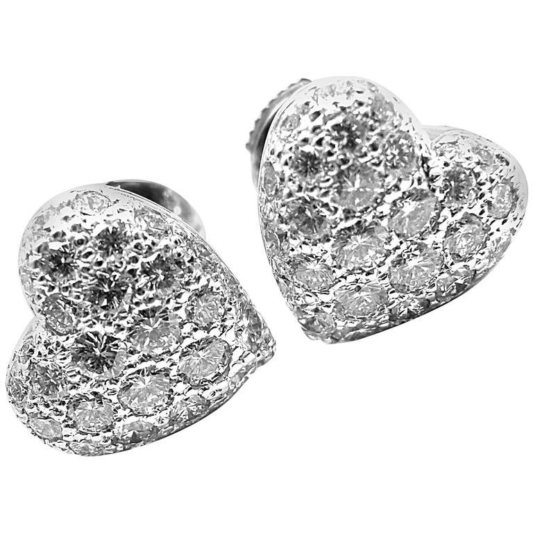 Cartier 1.5 Carat Pave Diamond Heart White Gold Earrings