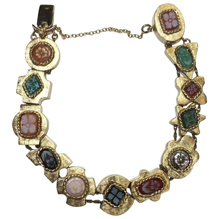 1960s Cameo Slide Charm Yellow Gold Bracelet
