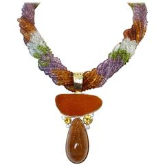 Michael Kneebone Drusy Rutilated Quartz Citrine Diamond Pendant Torsade Necklace