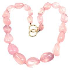 Tiffany & Co. Paloma Picasso Large Rose Quartz Bead Yellow Gold Necklace