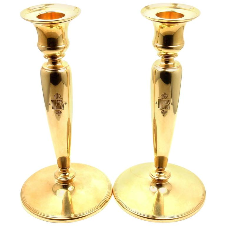 Tiffany & Co. Pair of Two Solid Yellow Gold Candlesticks