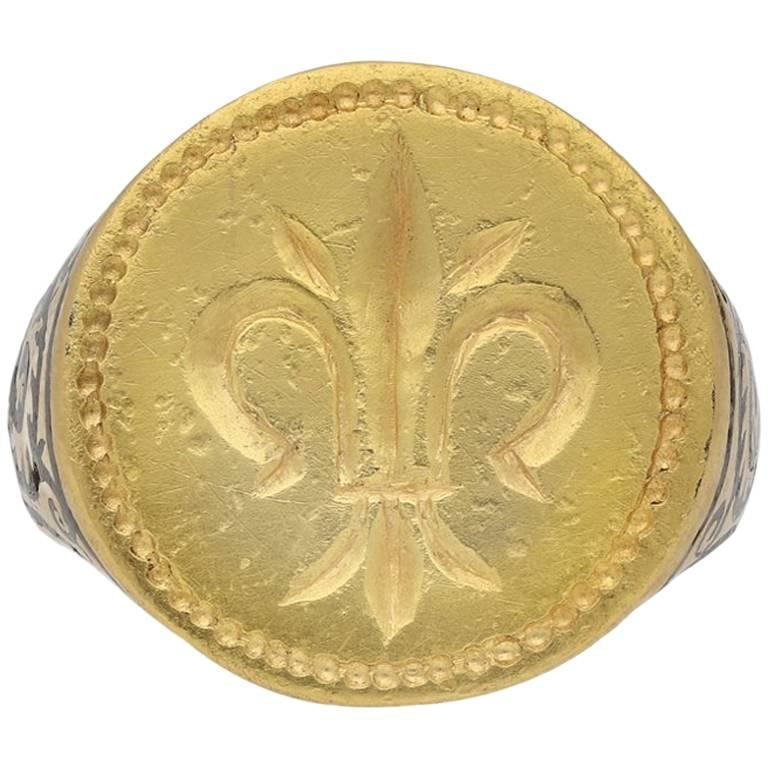 Post Medieval Gold Fleur-de-Lis Signet Ring, circa 17th Century AD ...