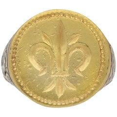 Post Medieval Gold Fleur-de-Lis Signet Ring, circa 17th Century AD
