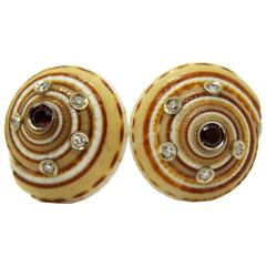 Red Spessartite White Diamond Gold Architectonica Jutea Seashell Earrings