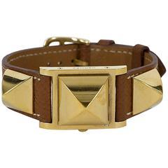 Hermes Gold-Plated Médor Brown Leather Quartz Wristwatch, circa 1995
