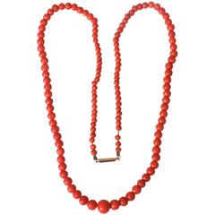 Antique Victorian Gold Red Salmon Coral Beads Necklace