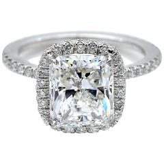 3.04 Carat HRD Certified Radiant Cut Diamond White Gold Engagement Ring