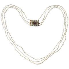 Georgian Gold Three Row Seed Pearl Choker Necklace