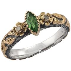 Emma Chapman Tsavorite Diamond Yellow Gold SIlver Ring