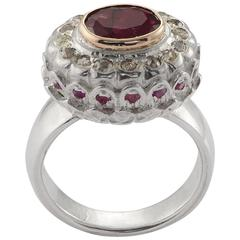 Emma Chapman Mikasa Pink Tourmaline Diamond 18 Karat Gold & Silver Ring