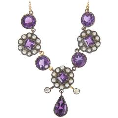 Amethyst, Seed Pearl and Diamond Necklace