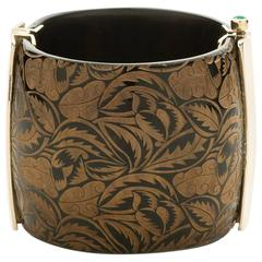 Fouche Bespoke Horn Ruby Sapphire Emerald Cuff Bracelet