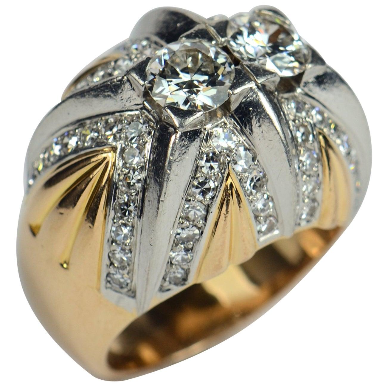 French Retro Diamond Gold Platinum Bombe Ring