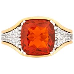 3.00 Carat Fire Opal Diamond Gold Ring