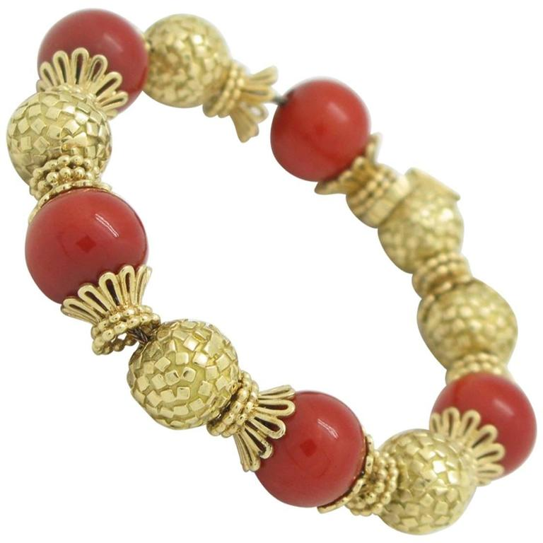 Coral Gold Bead Yellow Gold Bracelet
