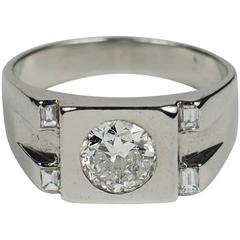 French Art Deco Modernist Diamond Platinum Ring