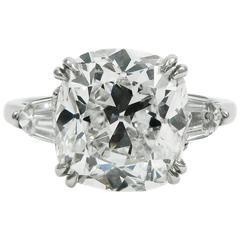 GIA Certified 5.24 Carat Cushion Cut Diamond Platinum Engagement Ring