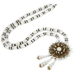 1940s Miriam Haskell White Beaded Necklace