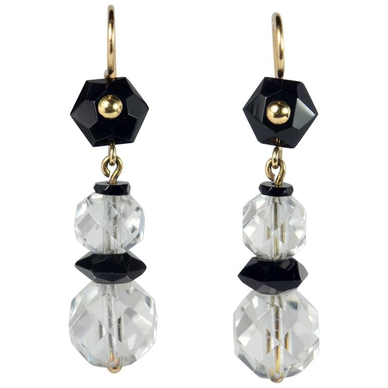 Art Deco Onyx Rock Crystal Gold Drop Earrings, circa 1920 For Sale