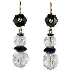 Art Deco Onyx Rock Crystal Gold Drop Earrings, circa 1920