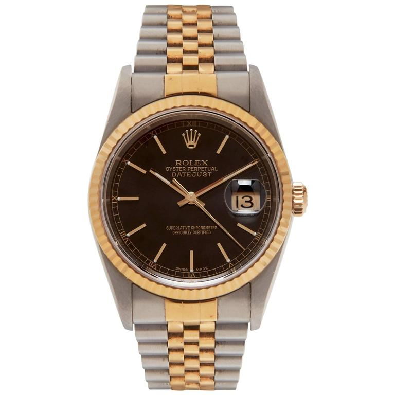 Rolex Gold Stainless Steel Oyster Perpetual Datejust Wristwatch Ref 16223  For Sale d8650e738aaf