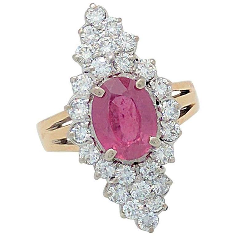 Pink Tourmaline Diamond Yellow Gold Cocktail Ring