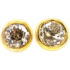 Old European Cut Yellow Gold Stud Earrings