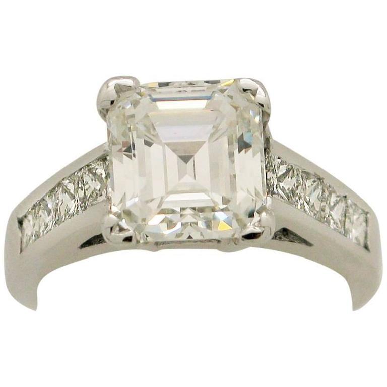 3.05 Carat GIA Certified Emerald Cut Diamond White Gold Engagement Ring