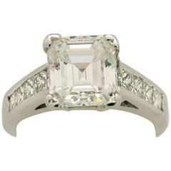 3.05 Carat GIA Certified Emerald Cut Diamond White Gold Engagement Ring