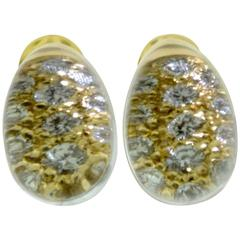 "Cartier ""Myst De Cartier"" Gold Rock Crystal Earrings with Diamond"