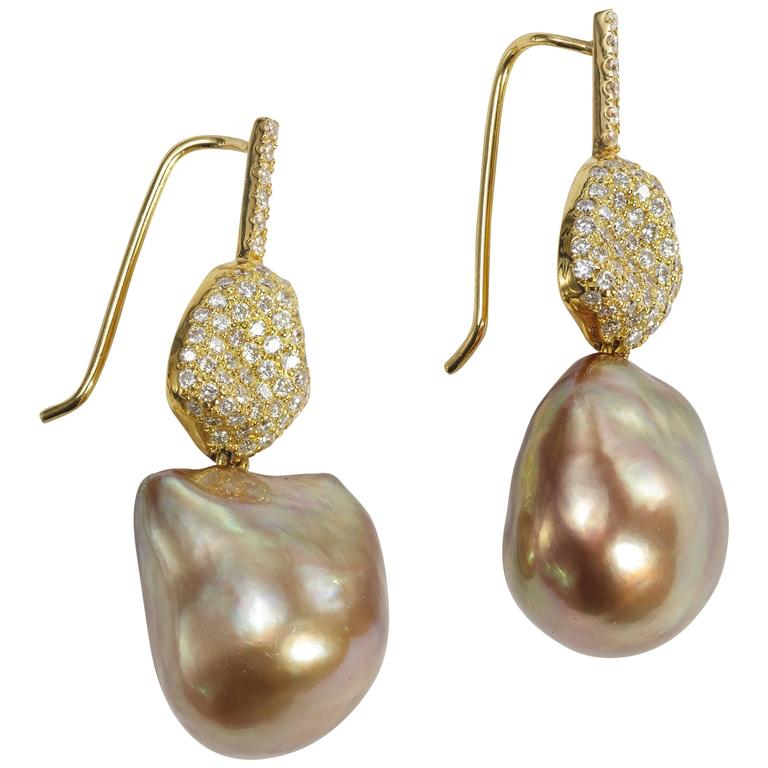Yvel Baroque Brown Pearl Diamond and 18 Karat Yellow Gold Drop Earrings