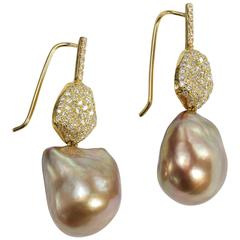 Yvel Baroque Brown Pearl Diamond Gold Drop Earrings