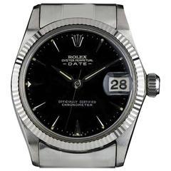 Rare White Gold Vintage Rolex Mid-Size Date Wristwatch