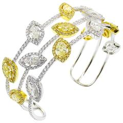 Stunning Canary and White Diamond Gold Cuff Bracelet