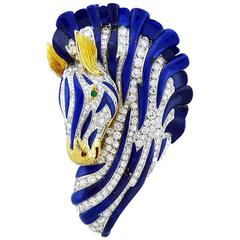 Van Cleef & Arpels Diamond Lapis Lazuli Emerald 18 Karat Gold Zebra Brooch