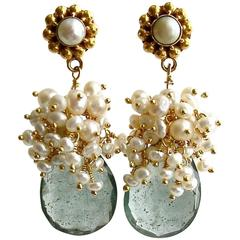 Moss Aquamarine Pearl Clusters Earrings