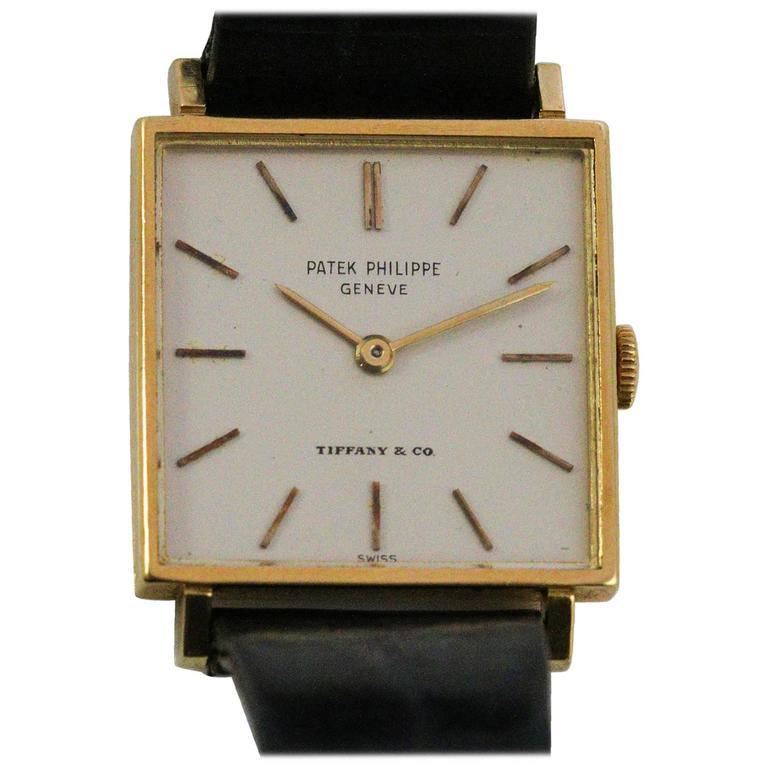 Patek Philippe Tiffany & Co. Yellow Gold Square Face Freccero Manual Wristwatch