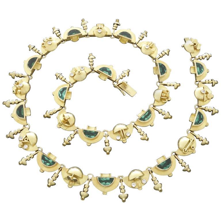 1920s-1930s Ernst Treusch Art Deco Tourmaline Diamond Gold Robot Mask Necklace