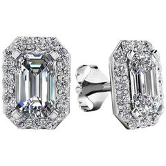 1.20 Carat Emerald Cut Diamond Earrings