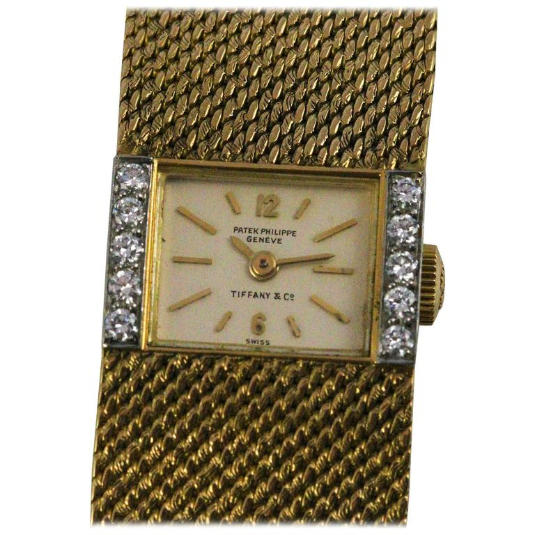 Patek Philippe and Tiffany & Co. Ladies Yellow Gold Diamond Wristwatch 1