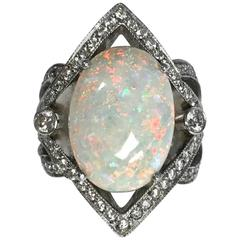 Large Opal Diamond White Gold Cocktail Ring
