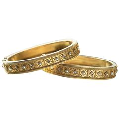 Victorian Matched Set of Pearl Diamond Gold Bangles