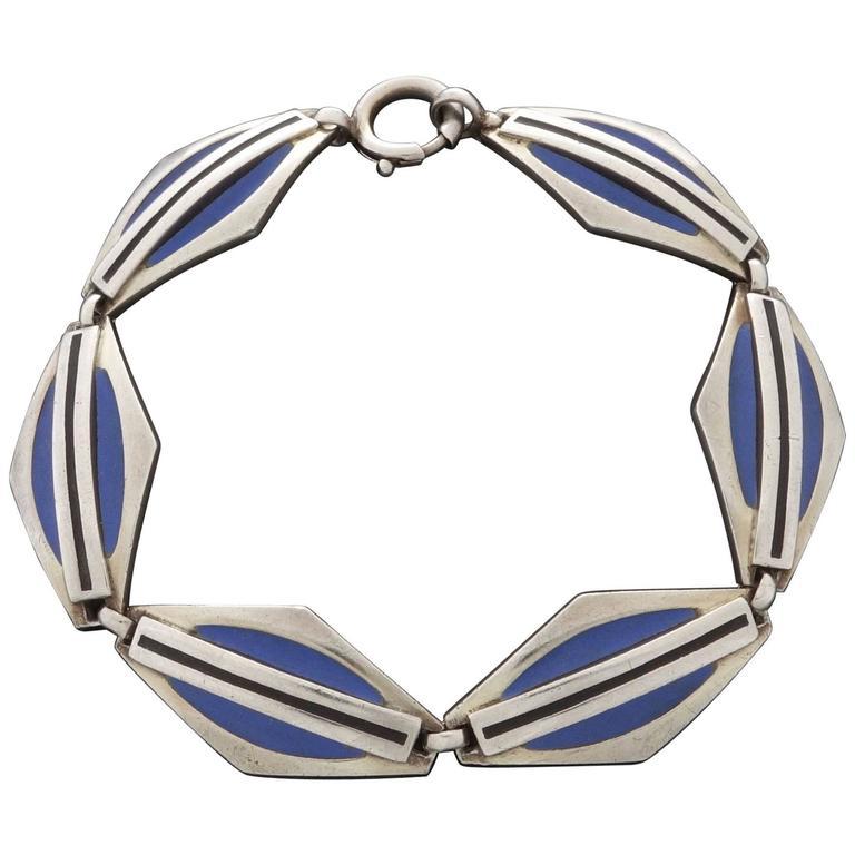 1920s Theodor Fahrner Art Deco Matte Enamel Silver Bracelet 1