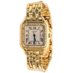 Cartier Yellow Gold Panther Diamond Bezel Quartz Wristwatch