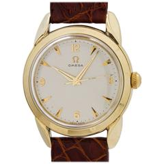 Omega Yellow Gold Stainless Steel Oversize Dress Model Automatic Wristwatch