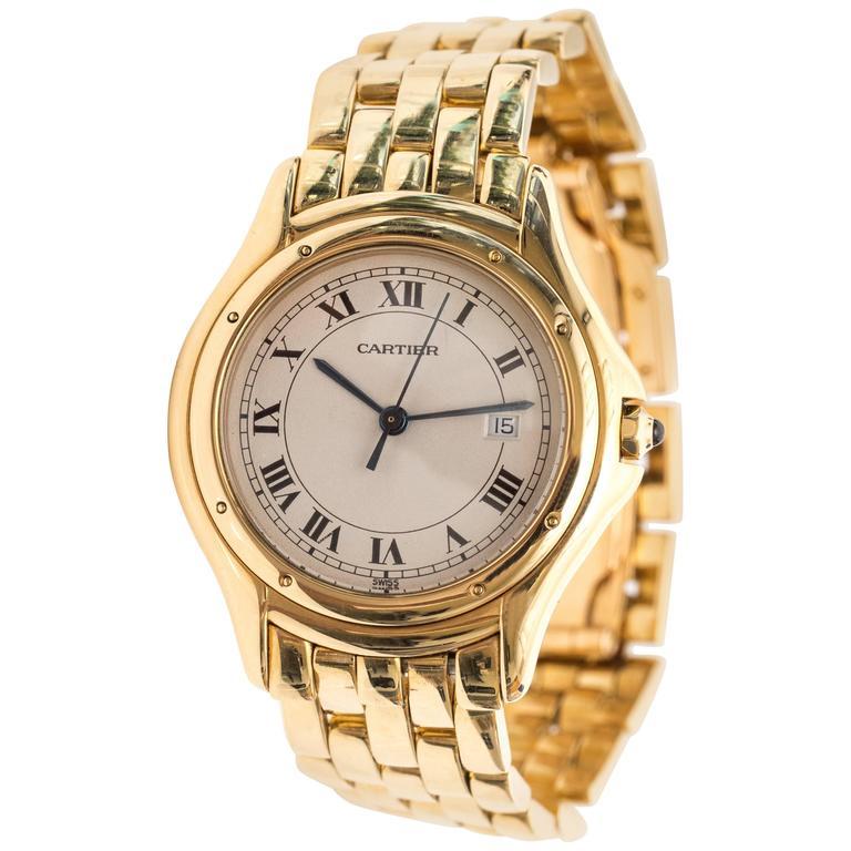 Cartier Cougar 18 Karat Yellow Gold Wrist Watch