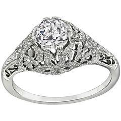 GIA 0.51 Carat Diamond White Gold Engagement Ring