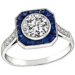 GIA Certified 0.93 Carat Diamond Sapphire Platinum Halo Ring