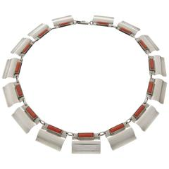 1930s Otto Stüber Unique Art Deco Machine Age Coral Silver Necklace